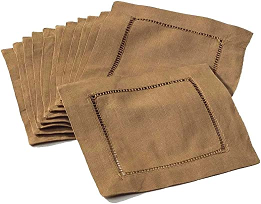 """Cloth Coasters 12 Pk 100/% Linen 6/"""" Green Hemstitched Cocktail Napkins"""