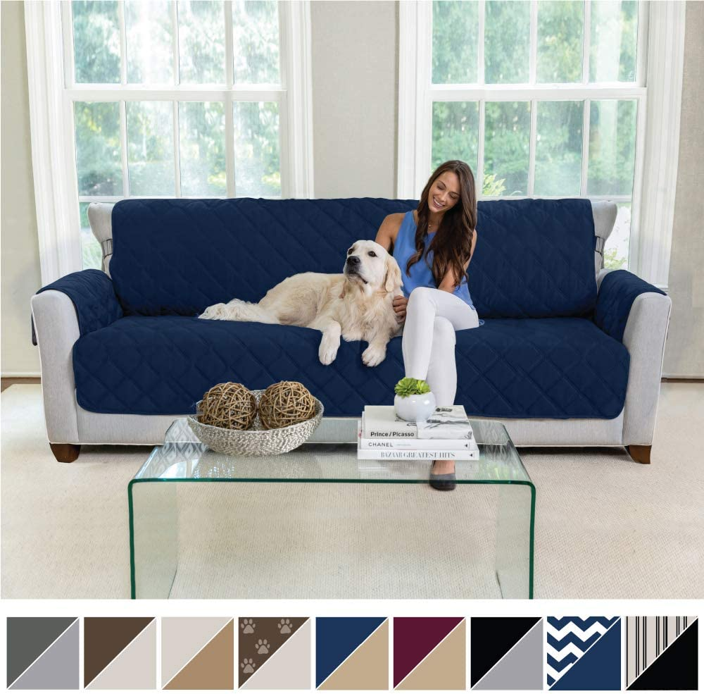 MIGHTY MONKEY Premium Reversible Sofa Slipcover, Seat Width to 78 Inch Furniture Protector, 2 Inch Elastic Strap, Washable Couch Slip Cover, Protect from Kids, Dogs, Cats, Oversized Sofa, Navy Tan