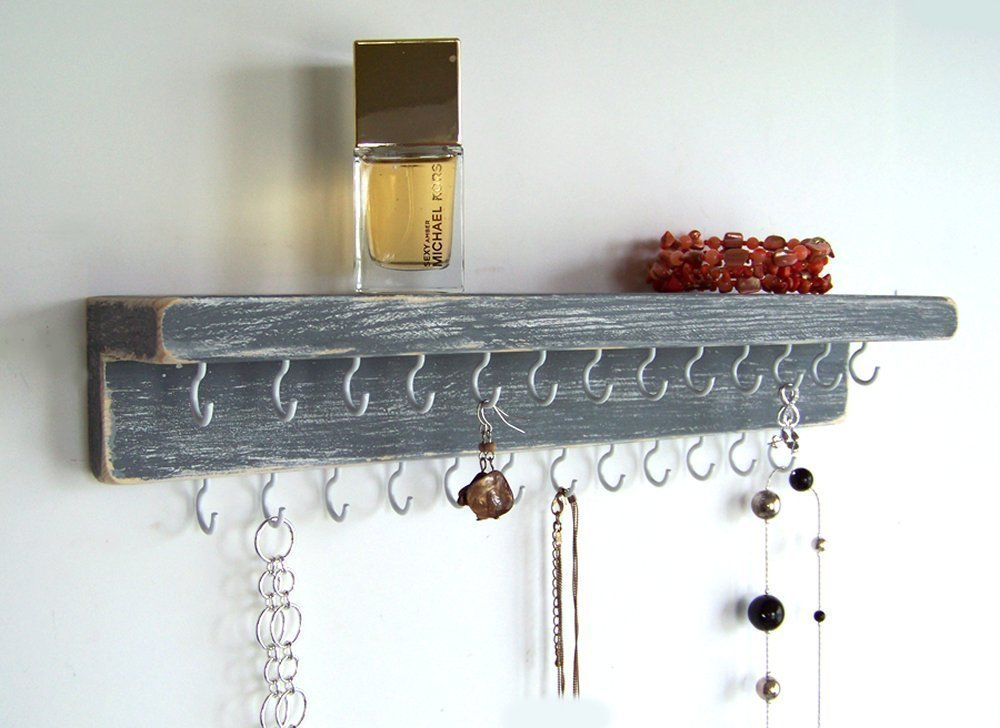 Jewelry Organizer by Out Back Craft Shack: Farmhouse Decor Wall Necklace Holder - Rustic Gray