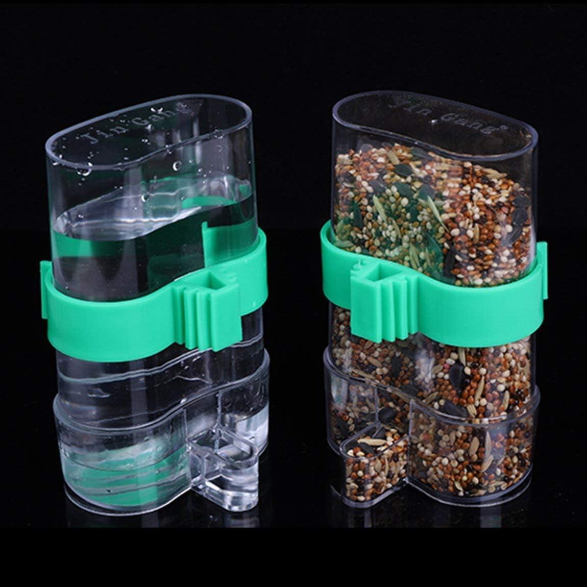Bird Trampa de agua automática Suministros para jaula de pájaros Accesorios para jaula de pájaros Fuente para beber Utensilios de loros (color: verde y transparente)