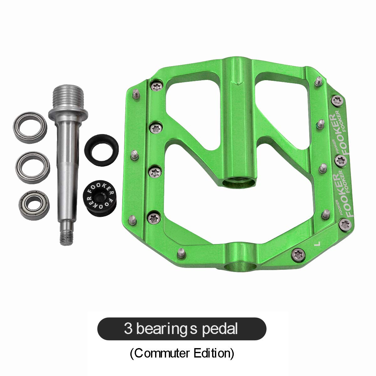 FOOKER Bike Pedals Non-Slip Aluminum Alloy MTB Mountain Bike Pedals 3 Bearing 9/16'' for Road BMX MTB Fixie Bikes by FOOKER (Image #8)