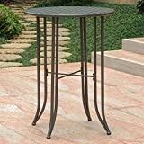 Iron Bar-Height Patio Table in Matte Brown