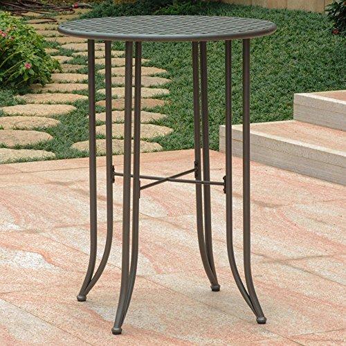 International Caravan Iron Bar-Height Patio Table in Rustic Brown