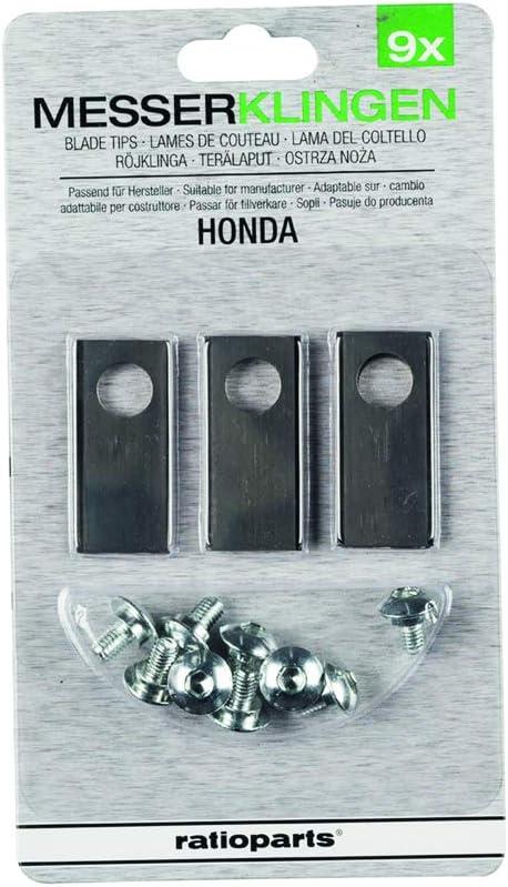 Ratio Parts Set para Robot cortacésped (9Cuchillo + Tornillos) Apto para Honda Césped Robot Cuchillo, Gris