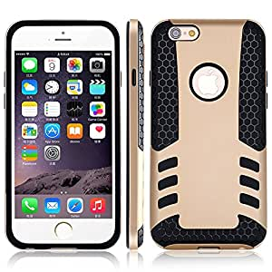 50pcs/lot DHL/Fedex Cool Rocket Luxury Hard Armor Case for Apple iphone 6 4.7 i6 Silicon + TPU Back Cover Circle for Logo R04887 --- Color:Gold