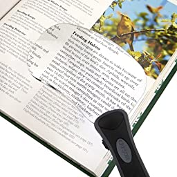 Carson® Rectangular LED Lighted RimFree 2x Magnifier with Soft Pouch (RM-77)