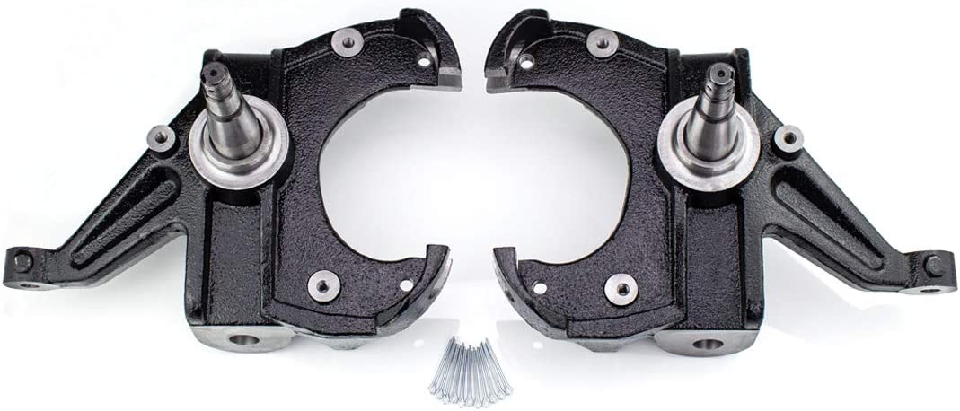 WULF 2.5 Front Drop Spindle Lowering Kit For 1973-1987 CHEVY C10 GMC C15 2WD with the 1 Thick Brake Rotor