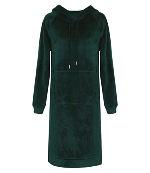 Vestidos Señoras Winterwear Mujeres Velvet Long Sleeves Over-Knee Faldas Colegialas,DarkGreen-L