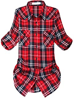 0f9878db50eae3 OCHENTA Women s Mid-Long Style Roll-Up Sleeve Plaid Flannel Shirt at ...