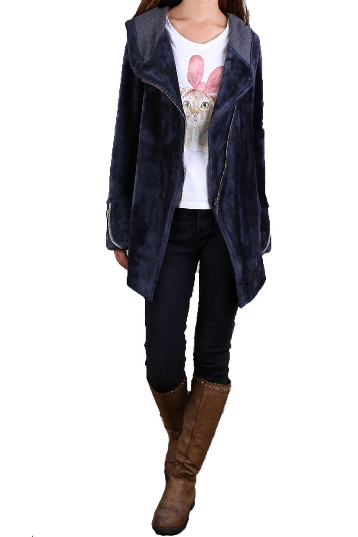 Women's Thick Cotton Fleece Jacket Dark Grey