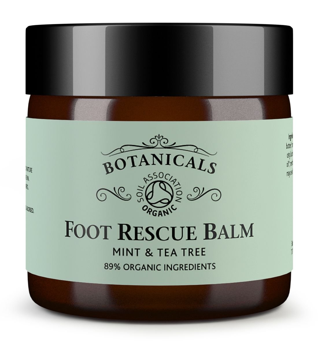 Foot Rescue Balm for Cracked Heels, Very Dry Skin & Athletes Foot Cream Treatment - 100% Natural and Certified Organic, Chemical Free Safe for Diabetics, Mint & Tea Tree (30g) Botanicals