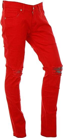 カラーパンツ メンズ ダメージ スキニー ジーンズ 男性 ストレッチ 細身 タイト ボトムス K020325-05HZ