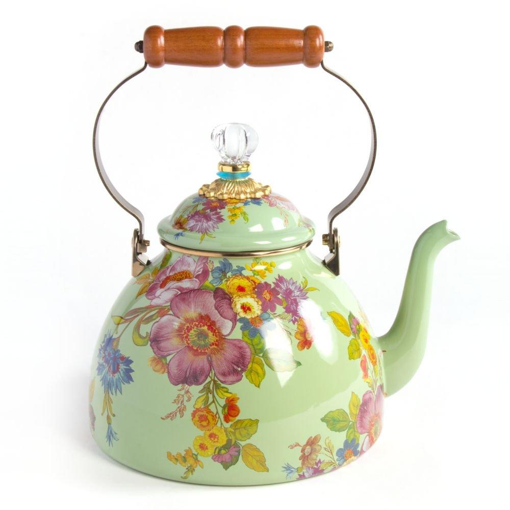 MacKenzie-Childs Flower Market Enamel 3 Quart Tea Kettle - Green