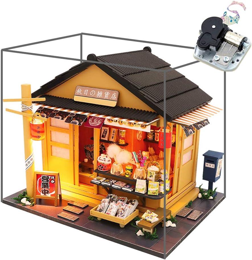 Retro Japanese Hand-Assembly Architectural Model Creative Handmade Female Cottage Yoshimoto Sushi Restaurant DIY Doll House Japanese Sushi Shop The DIY Cottage 3D Wooden Miniature House Kit