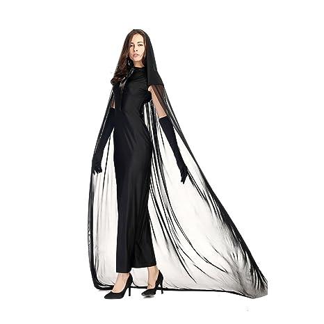 D_HOM Disfraz de Mujer Adulto Traje Negro Fantasma Hembra ...