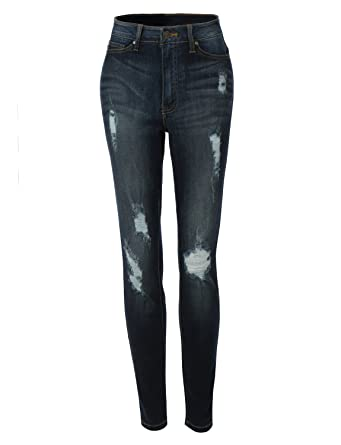 LE3NO Womens Vintage Distressed Skinny Denim Jeans Pants