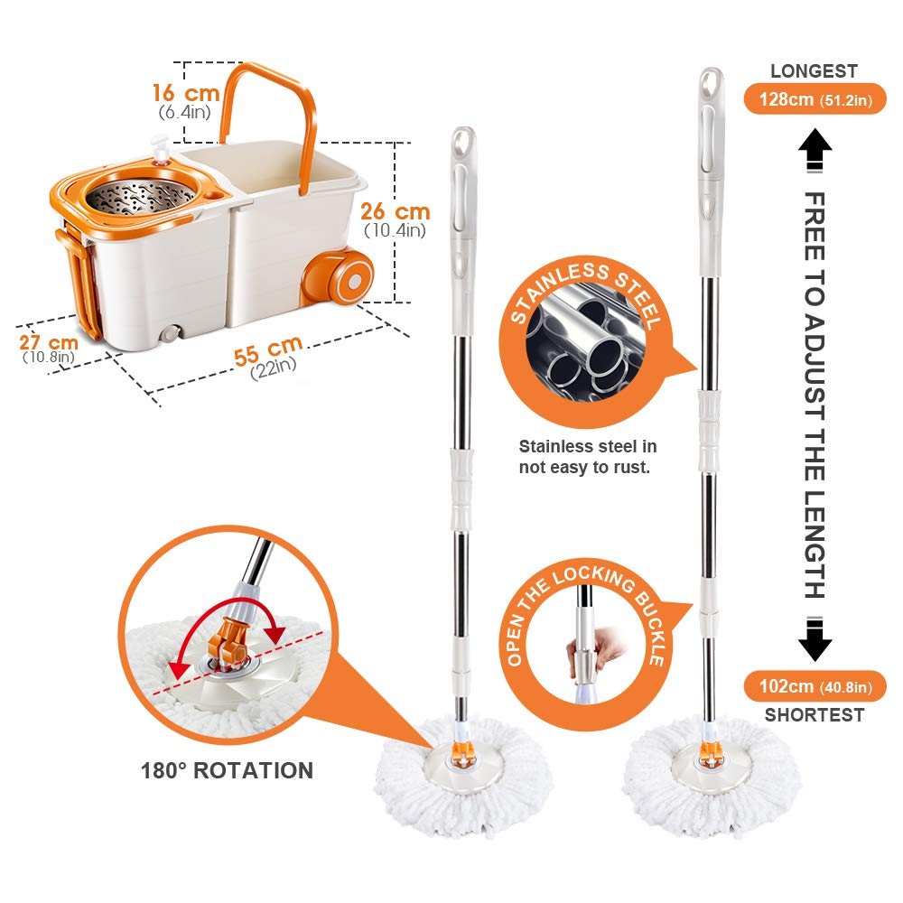 Spin Mop and Telescopic Bucket with 3 Microfiber Mop Heads 7L Mop Bucket with Wringer Self-Wringing Floor Cleaning Mop Masthome