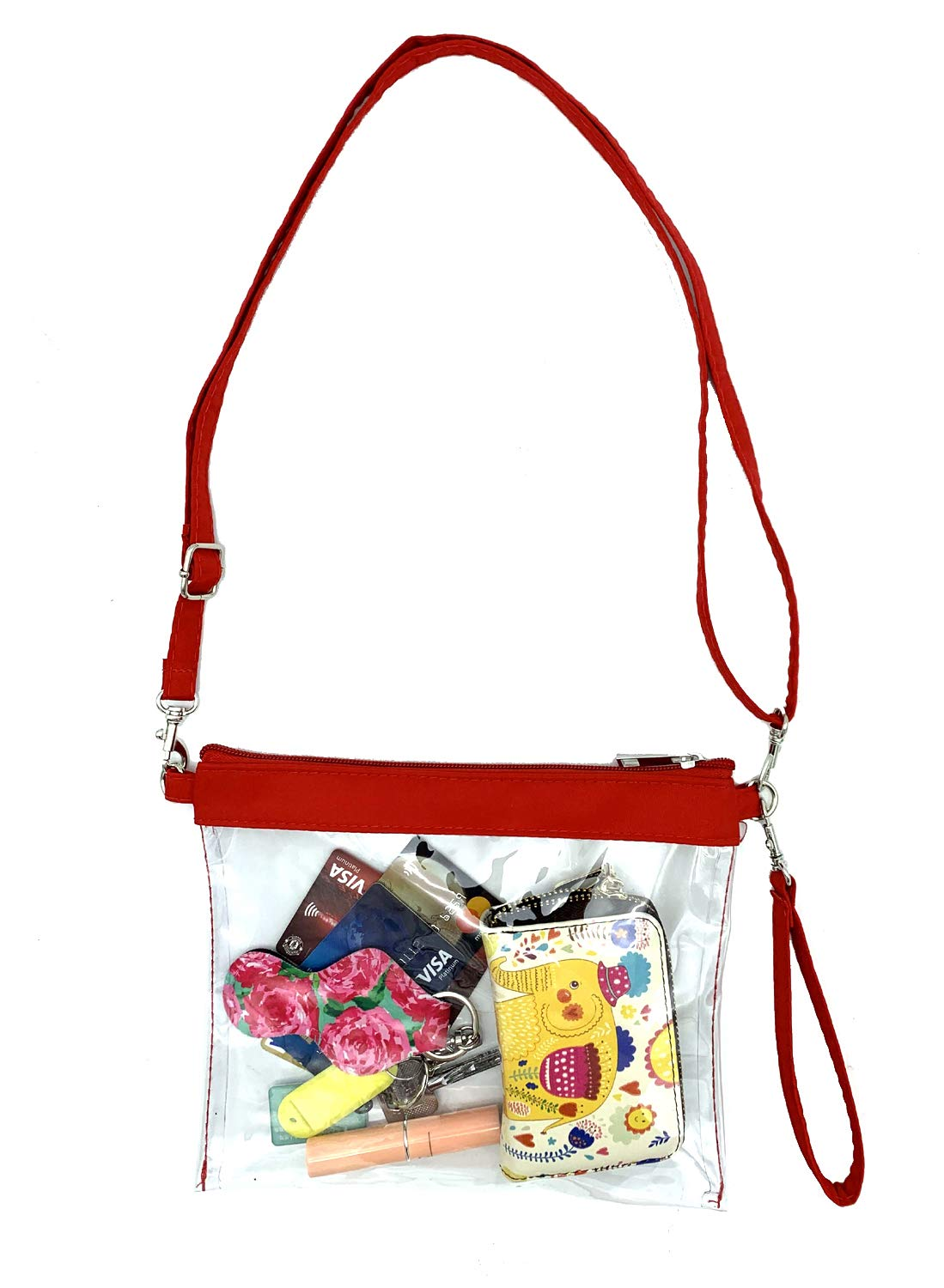 Gym Zippered Tote Bag Clear Toiletry Bag Clear Gameday Bag with Adjustable Shoulder Strap and Wrist Strap for Work Wanty New Clear Crossbody Purse Bag Home and Sports Games