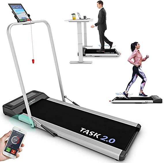 Bluefin Fitness TASK 2.0 2-in-1 Folding Under Desk Treadmill | Home Gym Office Walkpad | 8 Km/h | Joint Protection Tech | Smartphone App | Bluetooth Speaker | Compact Walking / Running Machine