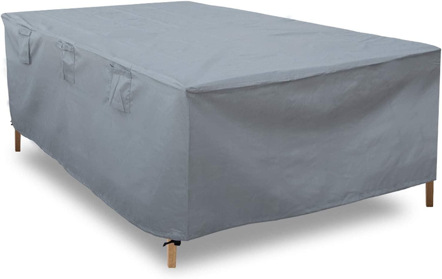 ORDORA Patio Table Cover Waterproof for Rectangular Furniture, 600D Canvas Outdoor Patio Furniture Covers Snow-Proof, Sun & Wind Resistant, Zipper Design, Fits Table & Chair Under 86Lx61Wx27H Inches