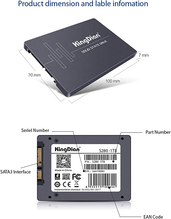 KingDian S280 1TB 2.5 Inch Solid State Drive for Laptop 550MB/S ...