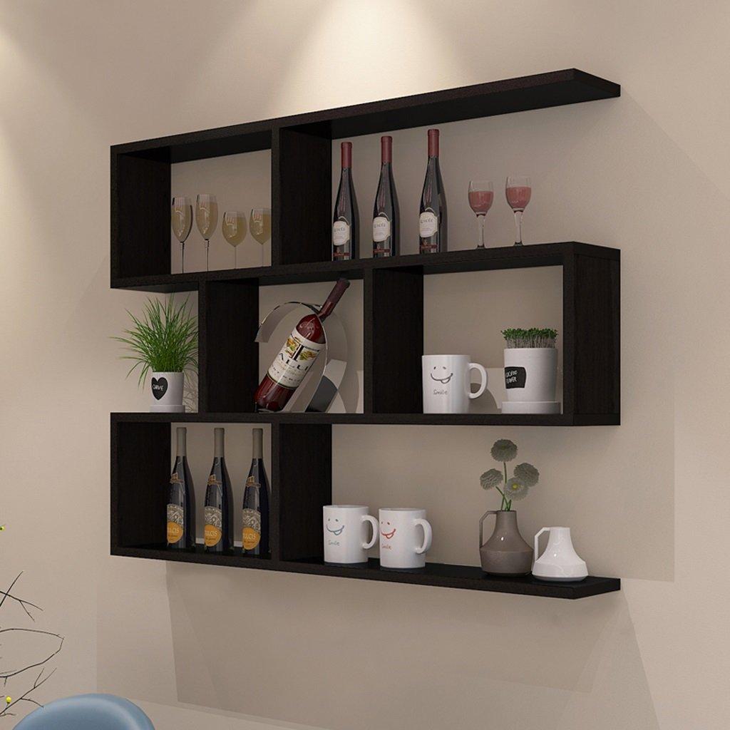 Walled Shelf Modern Simple Restaurant Shelf Decorative Red Wine Rack Set Lattice Storage Tower ( Color : Black walnut color , Size : 10020cm ) by LITINGMEI Shelf (Image #1)
