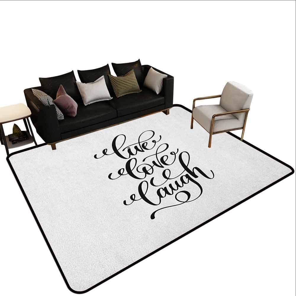 Modern Living Room With Large Carpet Live Laugh Love Hand Lettering Style Motivational Live Laugh Love Quote Monochrome Design Black White Amazon Co Uk Kitchen Home