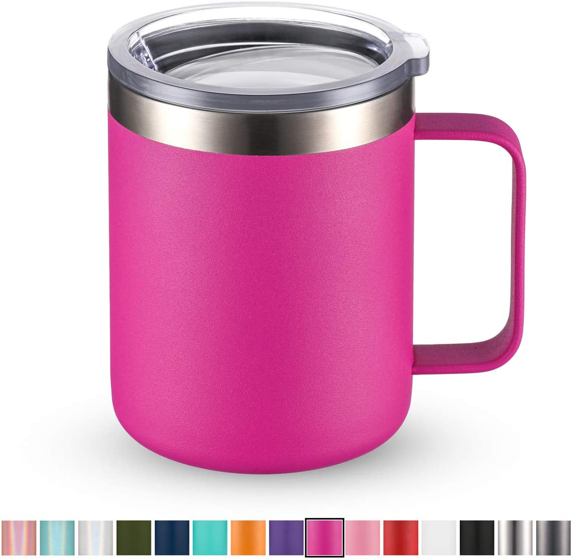Civago Stainless Steel Coffee Mug Cup with Handle, 12 oz Double Wall Vacuum Insulated Tumbler with Lid Travel Friendly (Fuchsia, 1 Pack)
