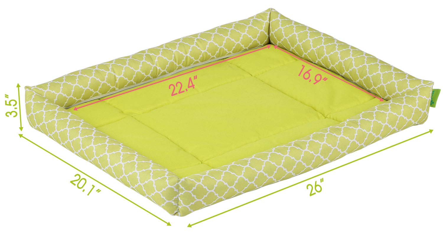 """Pecute Dog Bed Waterproof Detachable Pet Mat Washable Printed for Dogs and Cats Oxford (28.3x22.4x3.9"""", Green)"""