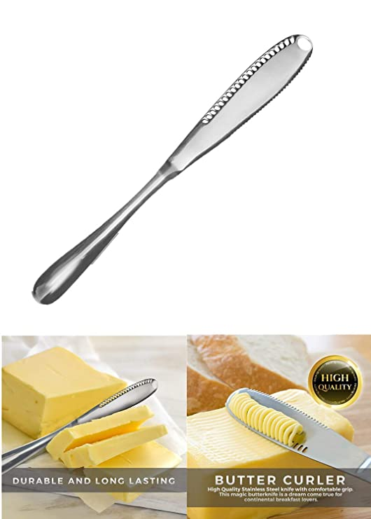 Sunsbell Cuchillo para untar mantequilla de acero inoxidable - Rebanadora 3 en 1