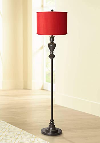 Traditional Floor Lamp Black Bronze Metal China Red Textured Silk Drum Shade