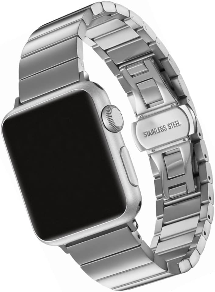 SWAWS Compatible/Replacement for Apple Watch Band 44mm/42mm Stainless Steel iWatch Band for Apple Watch Series 4,Series 3, Series 2, Series 1, Sport & Edition Women and Men Silver