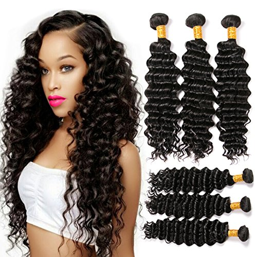 CLAROLAIR 7a Remy Virgin Brazilian Deep Wave 3 Bundles Virgin Brazilian Hair Deep Curly Wave Bundles Brazilian Virgin Hair Deep Wave Natural Color Mixed Length 8-26 Inch (100+/-5g)/pc(16 18 20 INCH) from CLAROLAIR