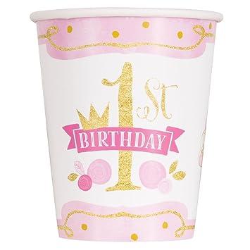Unique Party- Vasos de Papel Fiesta de Primer Cumpleaños para Niña, 8 Unidades, Color rosa y dorado, 266 ml (58156)