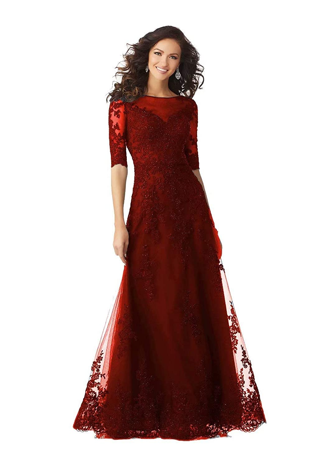 color 8 Unions Women Long Formal Evening Dresses Lace Applique Beaded Prom Party Gowns