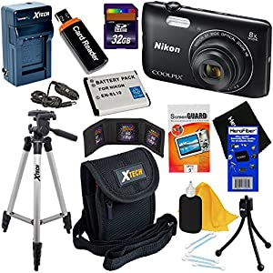 Nikon COOLPIX A300 20.1MP Digital Camera with 8x Zoom Lens & Built-in Wi-Fi (Black) - International Version (No Warranty) + Battery & AC/DC Charger + 10pc 32GB Dlx Accessory Kit w/HeroFiber Cloth