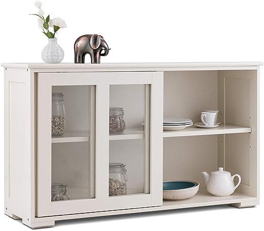 COSTWAY - Aparador de Cocina con Puerta corredera de Cristal, Mueble de Almacenamiento con 2 estantes de MDF para Cocina, Dormitorio, salón, Color Blanco: Amazon.es: Hogar