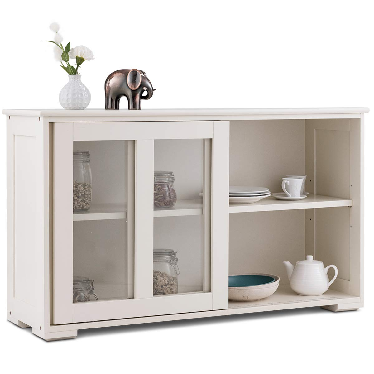 Costzon Kitchen Storage Sideboard, Antique Stackable Cabinet for Home Cupboard Buffet Dining Room (with Sliding Door Window)