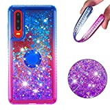 Cfrau Compatible with Huawei P30 with Black Stylus,Luxury Liquid Glitter Ring Kickstand Shockproof Quicksand Bling Cute Diamond Girls Women Cover for Huawei P30,Blue + Purple