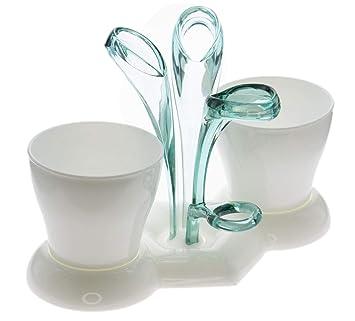 portacepillos de 5 plazas con 2 Vasos incluidos, hecho de plástico resistente, Disponible en