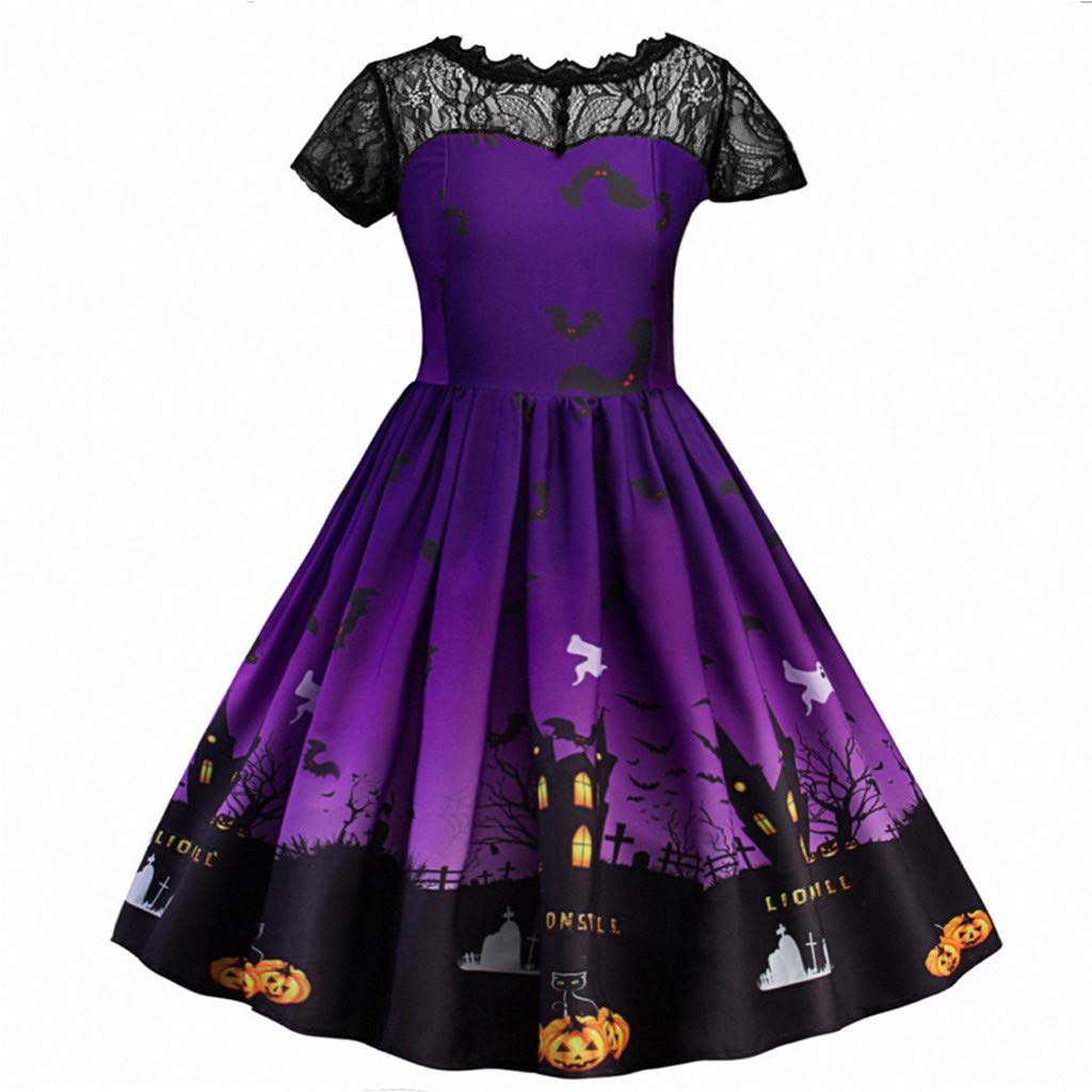 Girls Children Halloween Lace Ruched Print Dress Party Costume Clothes Special Occasion Dresses for 4-8 Years Old