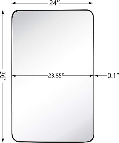 GRACTO 24×36 inch Black Stainless Steel Metal Framed Bathroom Mirror