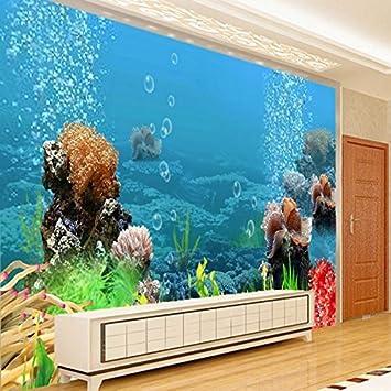 250cmX175cm fondos de pantalla personalizados grandes peces tropicales de acuario 3D estéreo mundo submarino salón dormitorio TV telón de fondo,250cmX175cm: ...