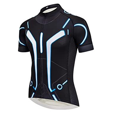 Men s Tron Jersey Set Short Sleeve Cycling Shirt Padded Black Bib Shorts 6bbe88c1b