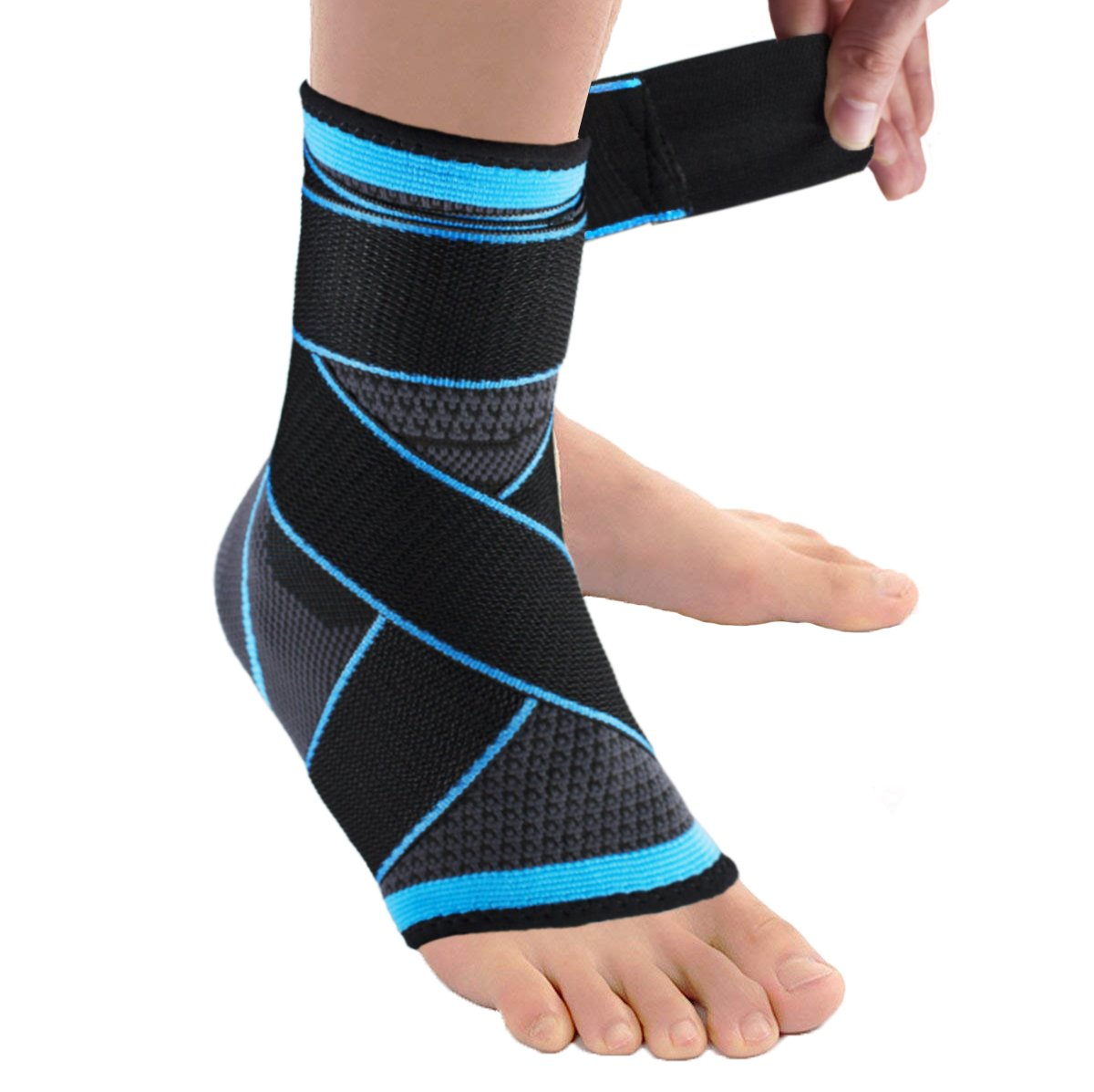 Plantar Fasciitis Ankle Brace Sock, Compression Achilles Tendon Support Sleeve with Adjustable Strap for Eases Swelling,Joint Pain Foot Pain Relief from Heel Spurs
