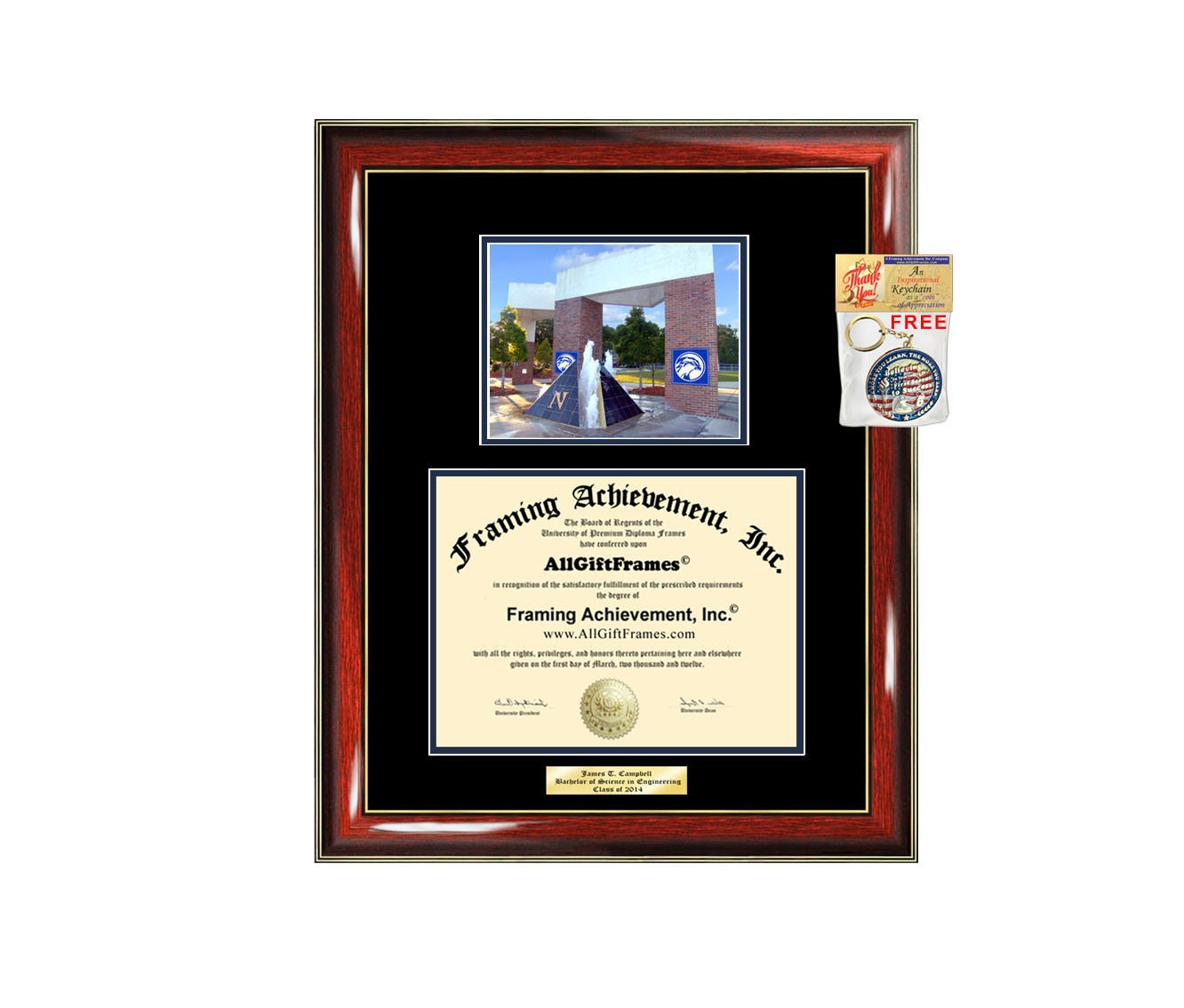 Diploma Frame University of North Florida UNF Graduation Gift Idea Engraved Picture Frames Engraving Degree Graduate Bachelor Masters MBA PHD Doctorate School