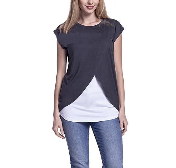217b3eae3 Camisetas Mamá Mujer Ropa Premamá Lactancia Verano T-Shirt De Doble Capa  Maternidad Tops Embarazada