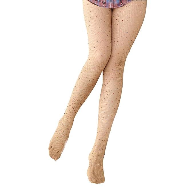 Mujer sexy Sparkle Rhinestone medias de malla medias de medias brillantes
