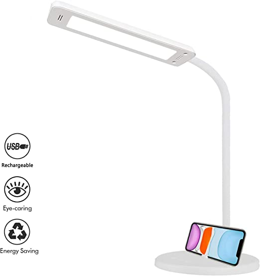 Lampe de Bureau LED Chevet Lampe Sans fil Rechargeable Luminosité Ajustable Protection des Yeux Lampe de Table with Phone Holder