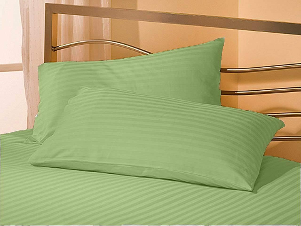 Cometa 6 PC Bedding Sheet Set - 1Flat Sheet, 1Fitted Sheet & 4Pillowcase - 400 Thread Count - 12 Inch Deep Pocket - 100% Pure Cotton Breathable & Wrinkle Free - Full-XXL, Sage Stripe